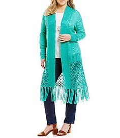 49dee5d860 Westbound Plus Crochet Hem Duster  Dillards Long Cardigan
