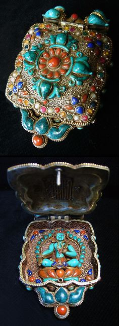 Tibetan GAU, from Kathmandu, Silver, coral, lapis ,emerald and ruby