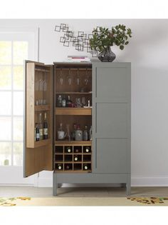 Victuals Grey Bar Cabinet by Russell Pinch for Crate & Barrel Custom & DIY Minibar Design Inspirations and Ideas for your Mancave Armoire Bar, Cabinet Furniture, Bar Furniture, Basement Furniture, Drinks Cabinet, Liquor Cabinet, Deco Studio, Grey Bar, Muebles Living