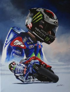 Jorge Lorenzo limited edition print from original painting by Greg Tillett. 175 signed and numbered by the artist size A high quality print on paper (UNFRAMED) Each print comes with a certificate of authenticity. Dispatched in a card board tube. Moto Wallpapers, Motogp Valentino Rossi, Motorbike Design, Bike Pic, Speed Art, Yamaha Motor, Speed Bike, Bike Rider, Ladies Day