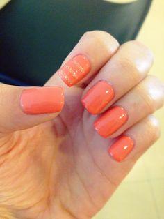 Salmon color nails