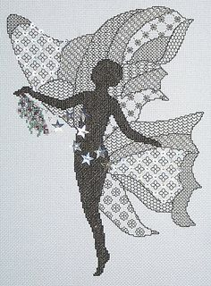 Moon Beam Blackwork with Cross Stitch Kit from Classic Embroidery
