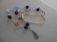 Chakra Hamsa  Necklace,Gemstone Healing,Crystal Healing,Protection Amulet