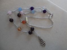 Chakra Hamsa  Necklace,Gemstone Healing,Crystal Healing,Protection Amulet