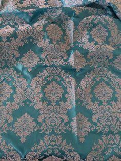 Turquoise Damask Flocking Velvet Taffeta Fabric 60'' Wide Fabric By The Yard