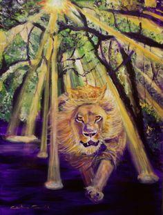 King of Glory, Lion of Judah Prophetic Art painting.