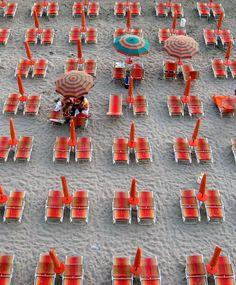 red beach umbrella's