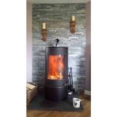 Silver Grey Split Face - Large | Customer Project - Feature Wall-Wood Burner