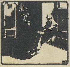 El Lissitzky Homme lisant / Reading man Linogravure sur papier / Linocut on paper 16.4 x 17 cm 1910