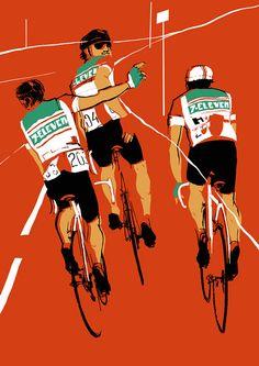 Illustration by Eliza Southwood to be shown in Beautiful Games 7 Eleven, Bike Illustration, Digital Illustration, Wall Art Prints, Poster Prints, Canvas Prints, Bike Poster, Cycling Art, Cycling Jerseys
