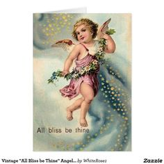 """Vintage """"All Bliss be Thine"""" Angel Christmas Card"""