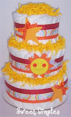 Items similar to Three Tier Modern Baby Our Lil' Sunshine Rainbow Diaper Cake Baby Shower Centerpiece on Etsy
