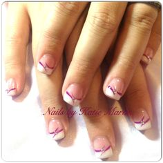 Without the middle stone though Fancy Nail Art, Pretty Nail Art, Fancy Nails, Bling Nails, French Manicure Nails, French Tip Nails, French Tips, Fingernail Designs, Gel Nail Designs
