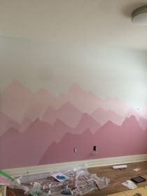 Today I am sharing one of my favourite DIY projects I have ever done, Ellia's Mountain Mural! I always knew when we built our last. Kids Room Murals, Kids Room Paint, Room Wall Painting, Mural Wall Art, Ombre Painted Walls, Autumn Room, Magical Bedroom, Mountain Mural, Bedroom Wall Designs
