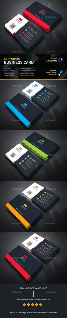 Buy Corporate Business Card by zeropixels on GraphicRiver. FEATURES: Easy Customizable and Editable Business card in with bleed CMYK Color Design in 300 DPI Resolut. Business Card Maker, Simple Business Cards, Professional Business Cards, Custom Business Cards, Business Card Templates, Cv Web, Visiting Card Design, Presentation Cards, Name Card Design