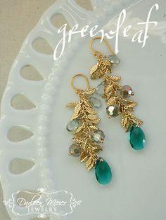 Greenleaf emerald earrings by darleenmeier on Etsy, $38.00