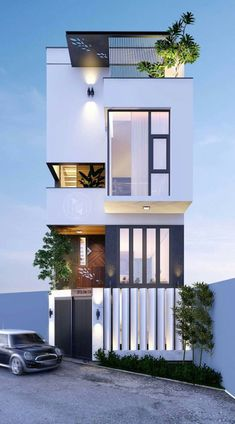 Facade Design, Villa Design, Exterior Design, Small House Design, Modern House Design, Townhouse Designs, Narrow House, Facade House, Modern Exterior