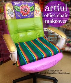 Artful Office Chair Makeover | iLoveToCreate