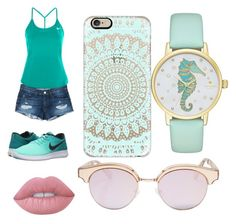 """""""Teal outfit"""" by da-queen078 on Polyvore featuring 3x1, NIKE, Kate Spade, Casetify, Le Specs and Lime Crime"""