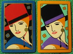 "Two Swap Cards Art Deco ""Rita"" Pinup Fabulous Matched Pair Vintage 1928 Mint Unused"