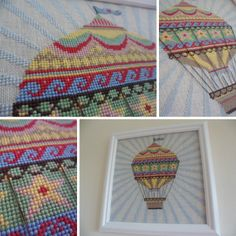 hot air balloon framed cross stitch (Emily Peacock design). | Lily loves Lola