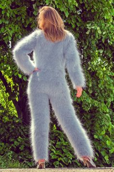 Grey hand knitted mohair sweater bodysuit fuzzy gray catsuit by SUPERTANYA SALE in Kleidung & Accessoires, Damenmode, Pullover & Strick Fluffy Sweater, Angora Sweater, Catsuit, Gros Pull Mohair, Pullover Outfit, Bodysuit, Sweater Outfits, Sweater Weather, Hand Knitting