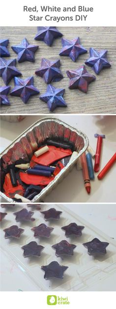 Red, White and Blue Star Crayons DIY. Making crayons is a great way to recycle all those broken crayons! It's a lot of fun to choose a new color mix and fun shapes. These festive stars would be a great favor to have at a family Fourth of July party. family. kids. home. recycle. reuse. earth day. easy. fun. science. boredom busters. crafts. activities. decorations.