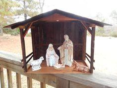 Wood Nativity Stable Creche Ready to ship by TheMomandPopWoodshop