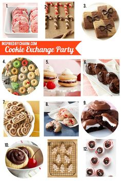 Bake one batch of cookies & leave with a yummy variety of holiday treats? Sounds like a darling idea! Check out Michael's tips to make your Cookie Exchange Party stress-free & fun -- inspired by charm: Host a Cookie Exchange Party // Starbuck Cookies Cookie Exchange Party, Christmas Cookie Exchange, Christmas Sweets, Holiday Cookies, Holiday Treats, Holiday Recipes, Holiday Desserts, Christmas Recipes, Holiday Baking