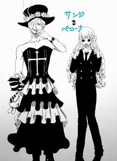 Sanji and Perona do clothes-swapping (it seems that Sanji doesn't mind wearing a dress, since he already done that before *cough*OKAMA*cough*)