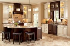 Excellent Beige Floor Tiles With Luxury Kitchen Cabinet For Traditional Kitchen Ideas With Simple Leather Stools Classic Kitchen Decoration with Luxury Kitchen Cabinets