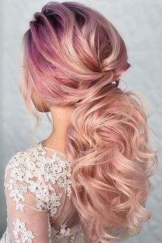 30 Bridal Hairstyles For Perfect Big Day Party timeless bridal hairstyles long pink hair curly elegant ponytail komarova_websalon Best Wedding Hairstyles, Loose Hairstyles, Bridal Hairstyles, Hairstyles 2016, Elegant Ponytail, Sleek Ponytail, Long Pink Hair, Bridal Braids, Hair Extensions Best
