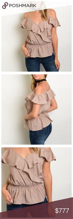❗️COMING SOON❗️TAN OPEN SHOULDER RUFFLE TOP Short ruffle sleeve off the shoulder elastic waist peplum chiffon top. Lee's boutique Tops Blouses