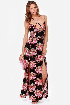 Reverse Take a Hint Black Floral Print Maxi Dress at LuLus.com!