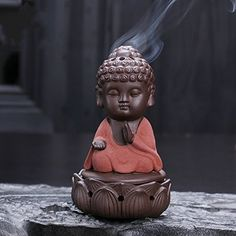 Little Buddha Monk Ceramic incense burner Purple Clay Coil Incense Buddhism Decor *** Check this awesome product by going to the link at the image.