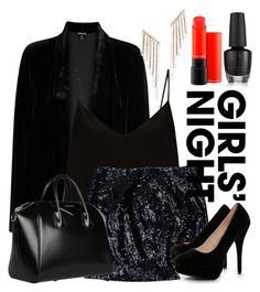"""""""Girl's night out"""" by mildredsunrise on Polyvore featuring Eileen Fisher, Raey, Michael Kors, Boohoo, Givenchy, MAC Cosmetics and Kenneth Jay Lane"""