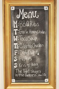 Very cute chalkboard menu
