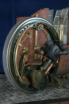 Modern Steampunk Monobike - London 1896 by Stefano Marchetti - Love this futuristic piece, http://www.randallchambers.com #steampunk #randallchambers