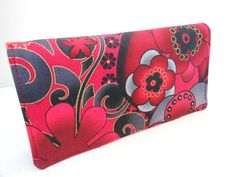 Fabric Checkbook Cover  Master Floral  Metailic  by Joanna1966,