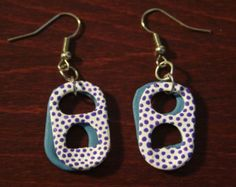 Popular items for pop tab earrings on Etsy, , Soda Tab Crafts, Can Tab Crafts, Bottle Cap Crafts, Tape Crafts, Cute Jewelry, Jewelry Crafts, Jewelry Accessories, Jewelry Design, Diy Earrings