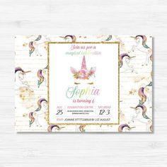 Unicorn Themed Birthday Invitation