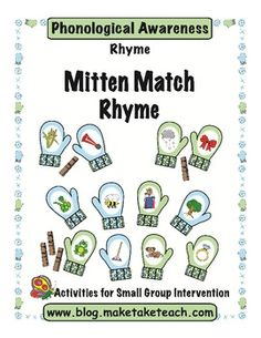 30 colorful rhyming mitten pairs!  Students use clothespins to clip the mittens together.