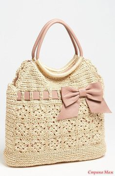 RED Valentino Leather and Crochet Raffia Tote Bag - Neiman Marcus Mode Crochet, Crochet Tote, Crochet Handbags, Crochet Purses, Knit Crochet, Crochet Gifts, Crochet Summer, Crocheted Lace, Easy Crochet