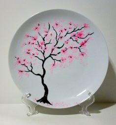 Hand Painted Wedding Plate Cherry Blossoms Free Personalization With Your Names… Hand Painted Pottery, Hand Painted Ceramics, Ceramic Pottery, Pottery Art, Hand Painted Plates, Paint Plates, Pottery Painting Designs, Pottery Designs, Paint Designs