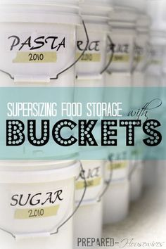 Learn how you can supersize your pantry overnight by using buckets. This has everything you need to know to get started! Emergency Preparedness Food Storage, Emergency Food Supply, Emergency Preparation, Emergency Supplies, Disaster Preparedness, Survival Food, Survival Prepping, Survival Skills, Doomsday Survival