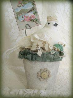 Handmade  Bird Flower Pot Vintage Peat Pot  Handmade by QueenBe, $28.75