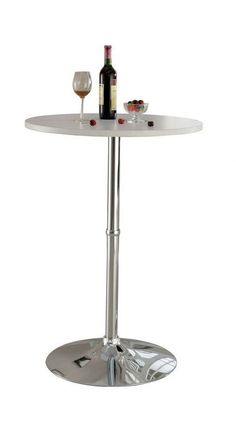 Nessa collection contemporary style round white and chrome bar table Presidents Day Sale, Bar Tables, Contemporary Style, Chrome, House Design, Furniture, Collection, Cocktail Tables, Home Furniture