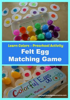 Cute Preschool or Toddler Color Matching Easter Egg Game from Pink and Green Mama Blog
