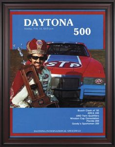 """NASCAR Framed 36"""" x 48"""" Daytona 500 Program Print Race Year: 24th Annual - 1982 by Mounted Memories. $363.99. NC14241982 Race Year: 24th Annual - 1982 Features: -Original cover art from that day's race program. -Vibrant colors restored, alive and well. -Classic brown finished wood frame, unmatted. -Officially licensed by NASCAR. -36"""" W; x 48"""" H; canvas print. -Overall dimensions 52 1/4 H"""" x 40"""" W. -Made in the USA."""