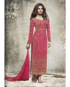 1. Pink embroidered Georgette suit 2. Embroidery with jari, sequins and stone work  3. Comes with a matching chiffon dupatta finish with lace and stone work 4. Can be stitched upto size 42 inches